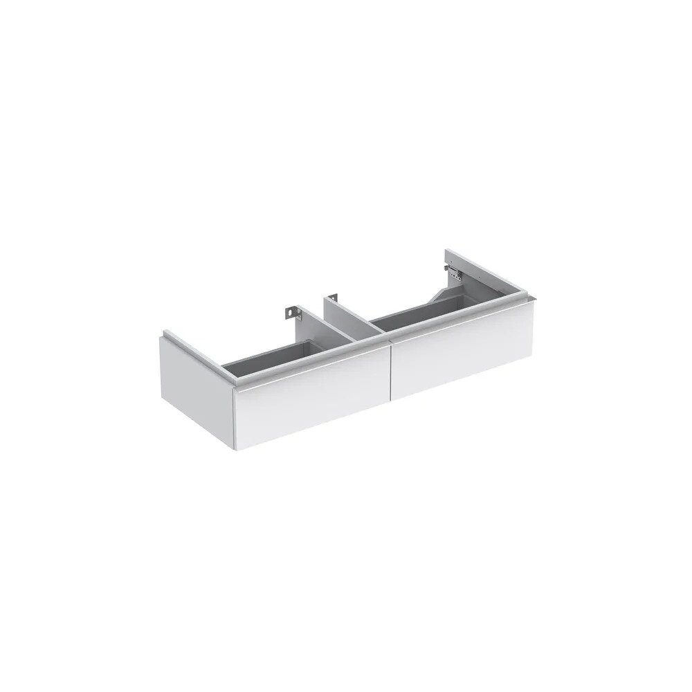 Dulap baza pentru lavoar suspendat alb mat Geberit Icon 2 sertare 119 cm