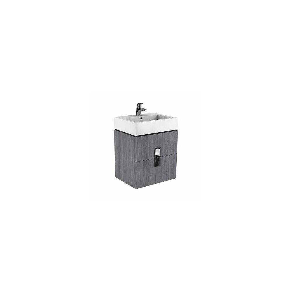 Dulap baza pentru lavoar suspendat cu 2 sertare Kolo Twins 60 cm, gri argintiu imagine