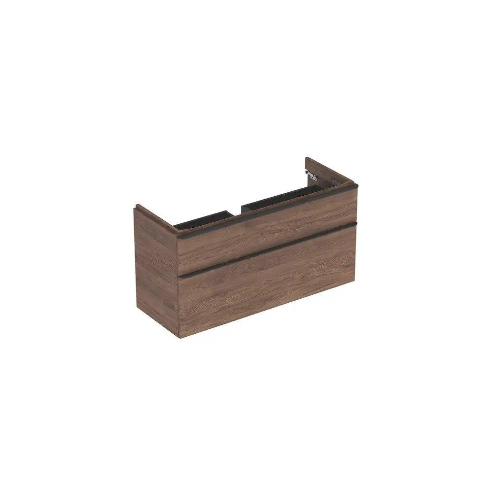 Dulap baza pentru lavoar suspendat Geberit Smyle Square nuc 2 sertare 119 cm neakaisa.ro