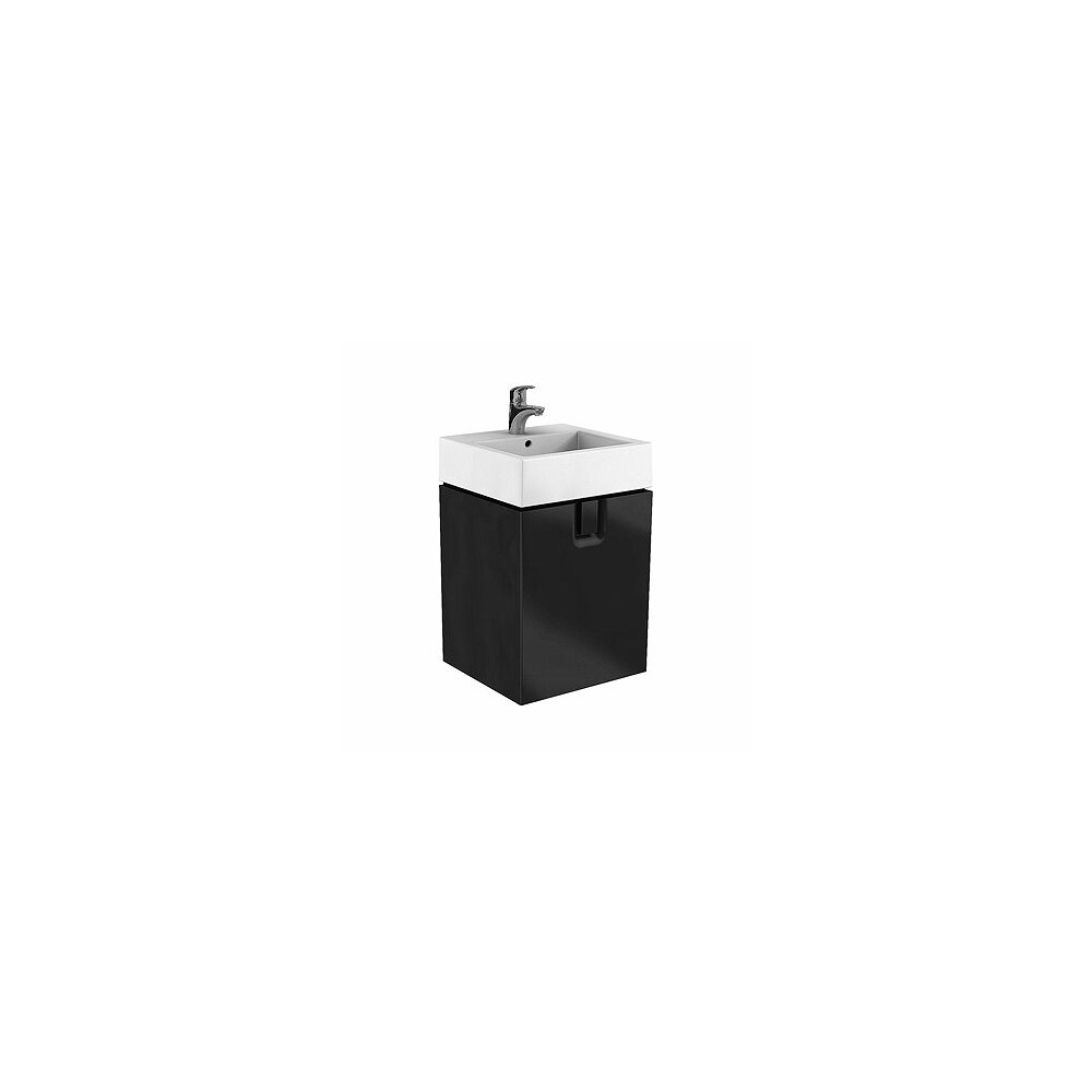 Dulap baza pentru lavoar suspendat Kolo Twins 50 cm, negru mat, 1 sertar poza