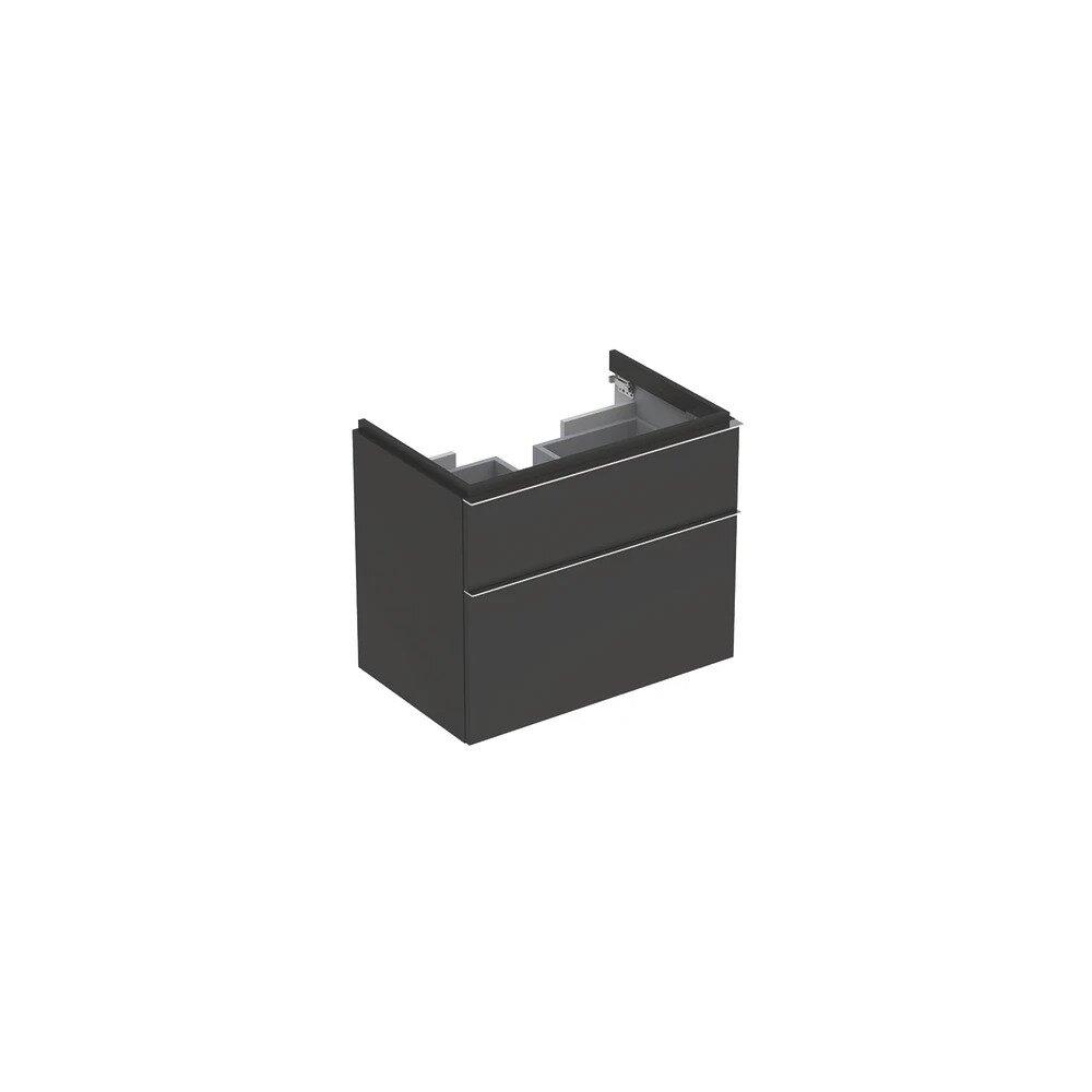 Dulap baza pentru lavoar suspendat negru Geberit Icon 2 sertare 74 cm