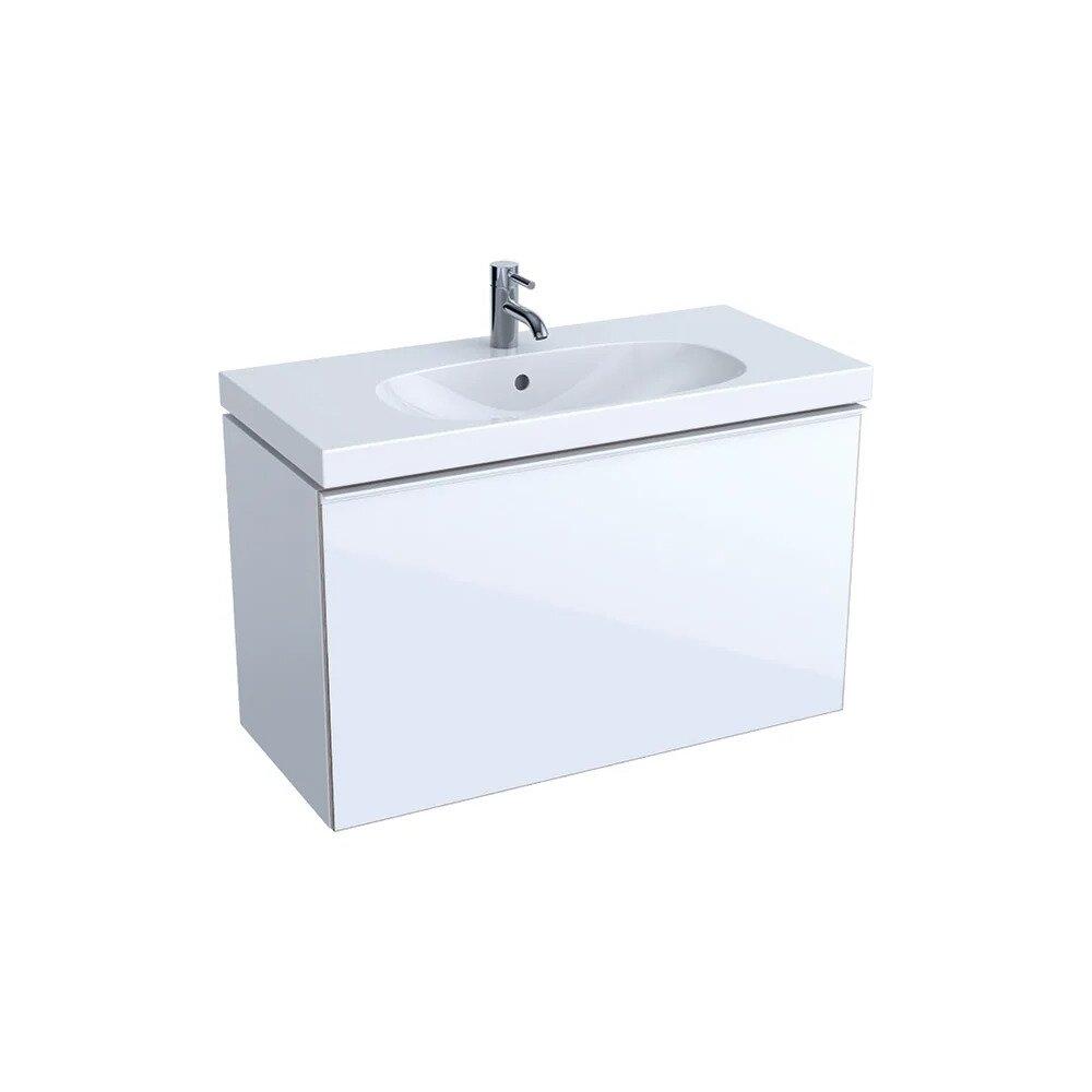 Dulap baza pentru lavoar suspendat proiectie mica alb Geberit Acanto 1 sertar 89 cm poza
