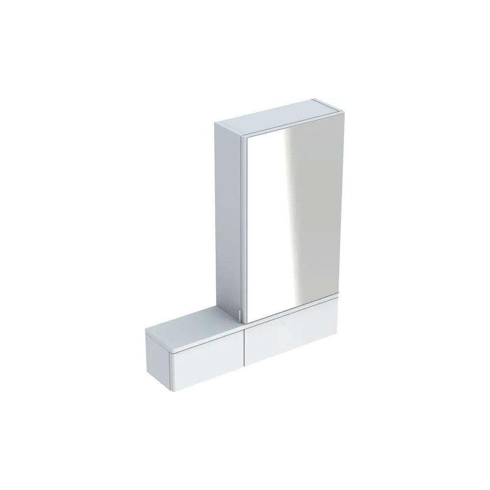 Dulap cu oglinda suspendat Geberit Selnova Square alb 1 usa stanga 2 usi rabatabile 71 cm imagine neakaisa.ro