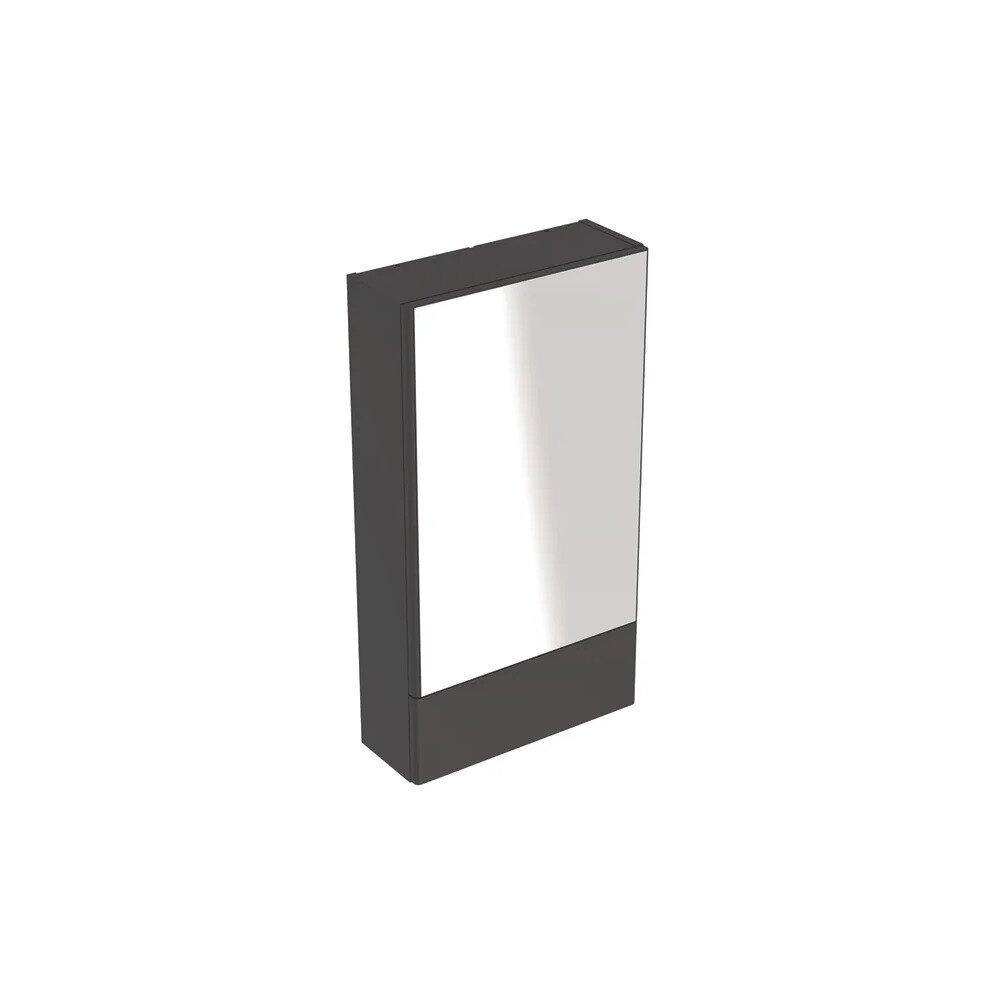 Dulap cu oglinda suspendat Geberit Selnova Square negru 1 usa simpla 1 usa rabatabila 47 cm imagine neakaisa.ro