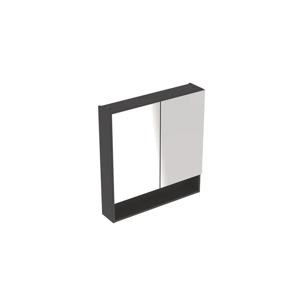 Dulap cu oglinda suspendat Geberit Selnova Square negru 2 usi 79 cm imagine neakaisa.ro