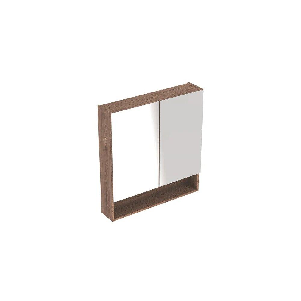 Dulap cu oglinda suspendat Geberit Selnova Square nuc 2 usi 79 cm imagine neakaisa.ro