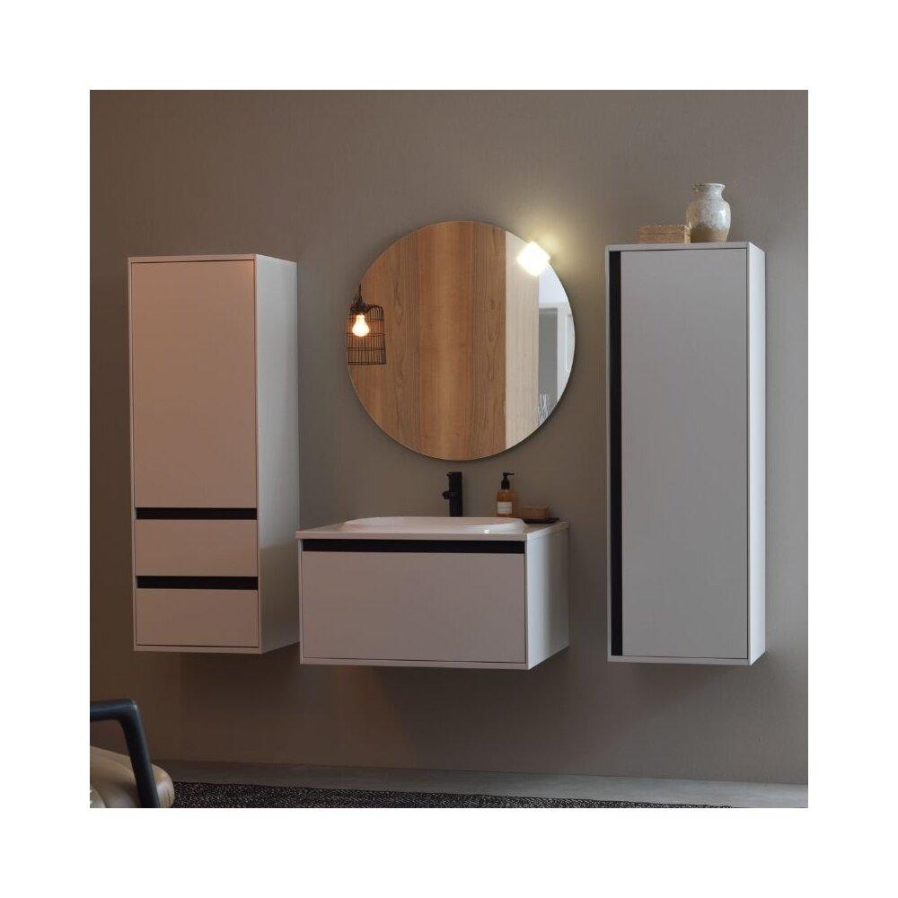 Dulap inalt suspendat cu usa si sertare KolpaSan Pandora mdf alb 130x45 cm imagine neakaisa.ro