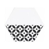 Gresie glazurata hexagonala alb-negru Kerama Marazzi Buranelli Petals Circles A208