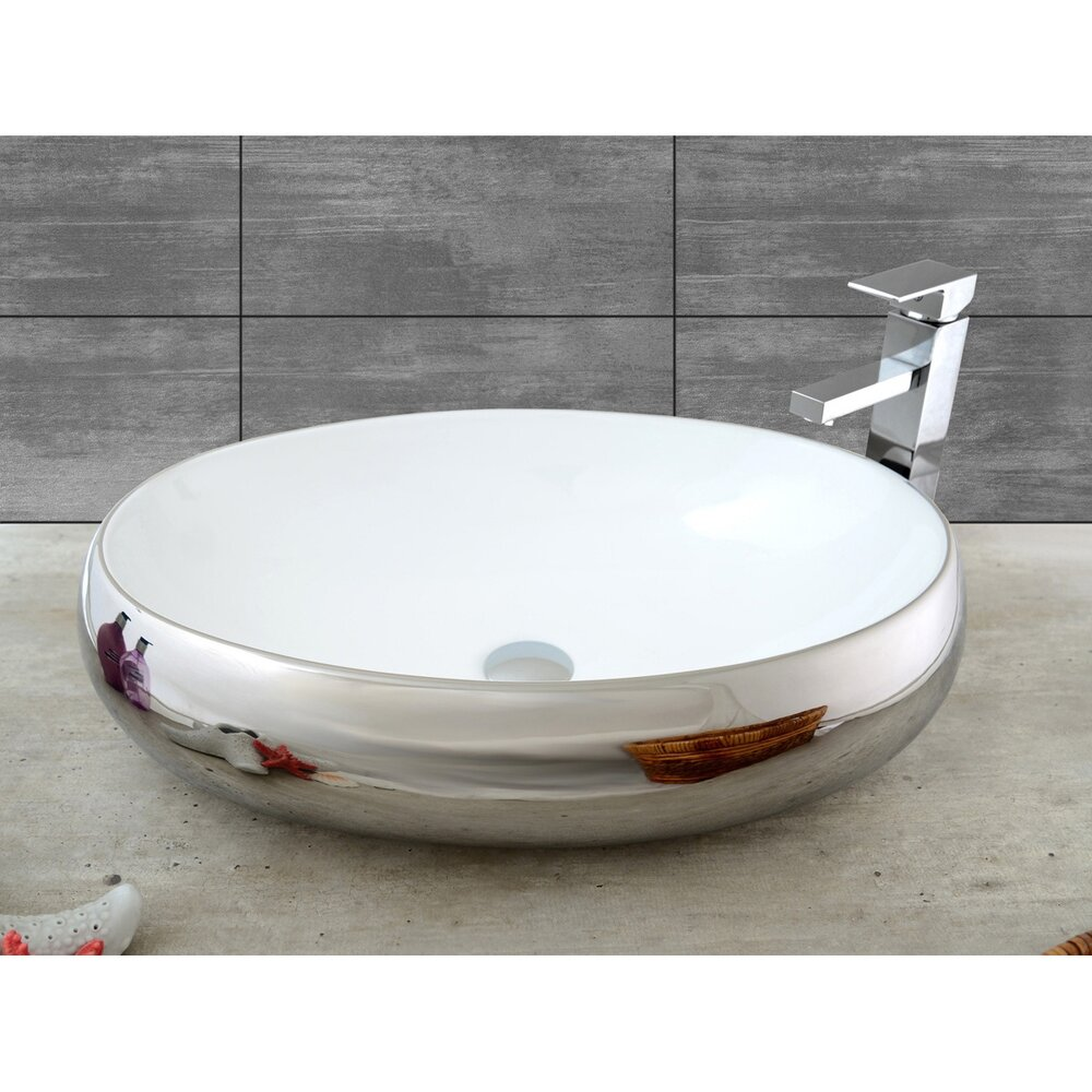 Lavoar alb/argintiu pe blat Rea Melania 61 cm imagine