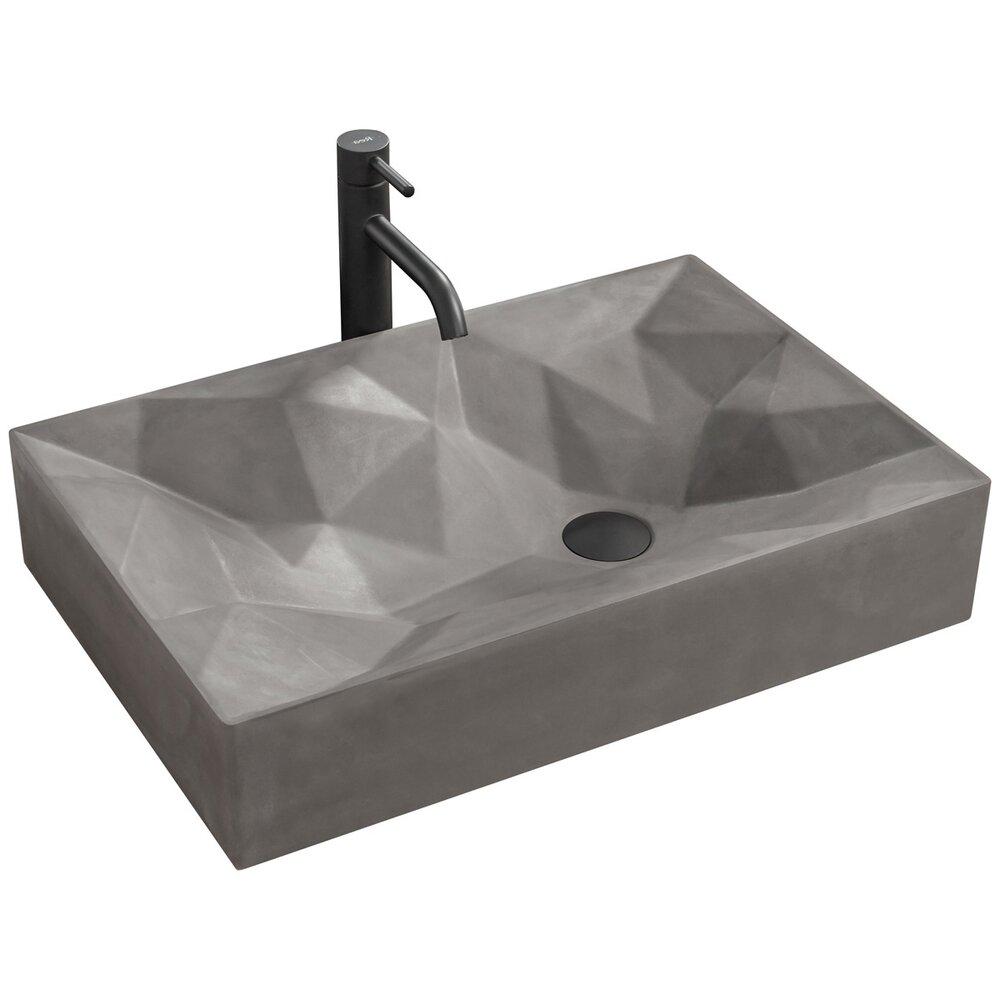 Lavoar gri mat pe blat Rock Gray 60 cm