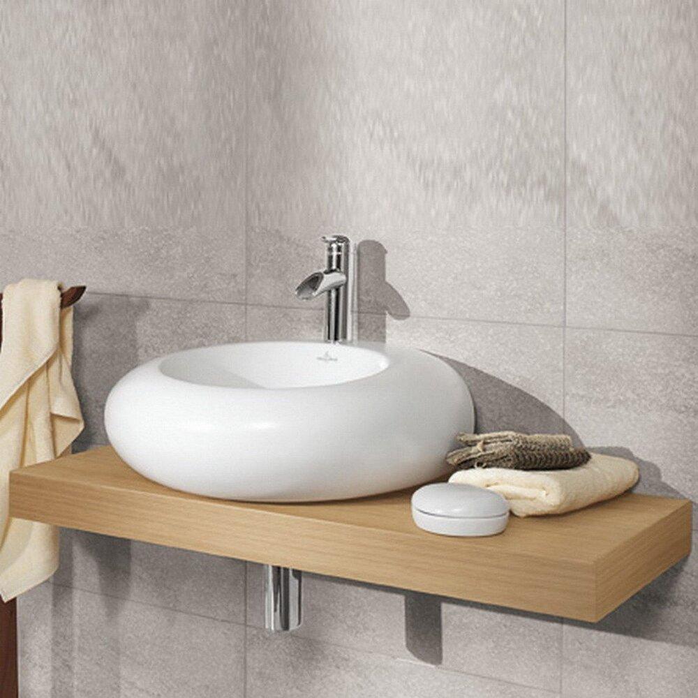 Lavoar pe blat Villeroy&Boch Pure Stone CeramicPlus 60x54 cm asimetric alb imagine neakaisa.ro