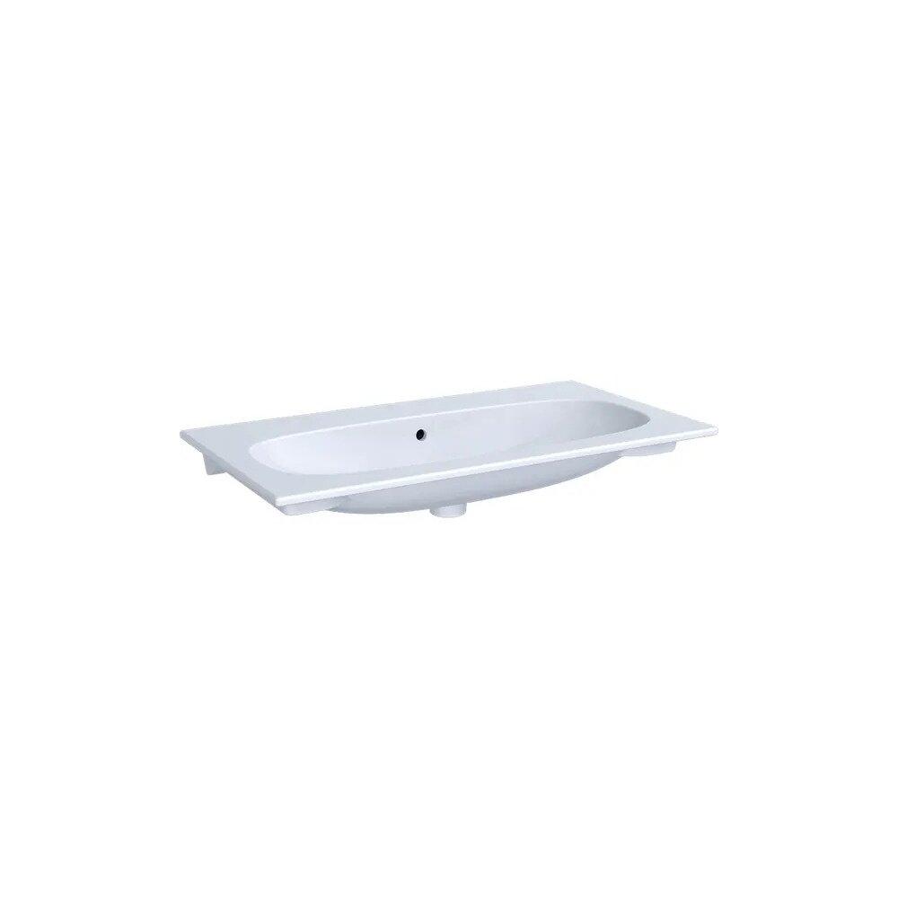 Lavoar pe mobilier Geberit Acanto 89 cm alb fara gaura pentru baterie imagine neakaisa.ro