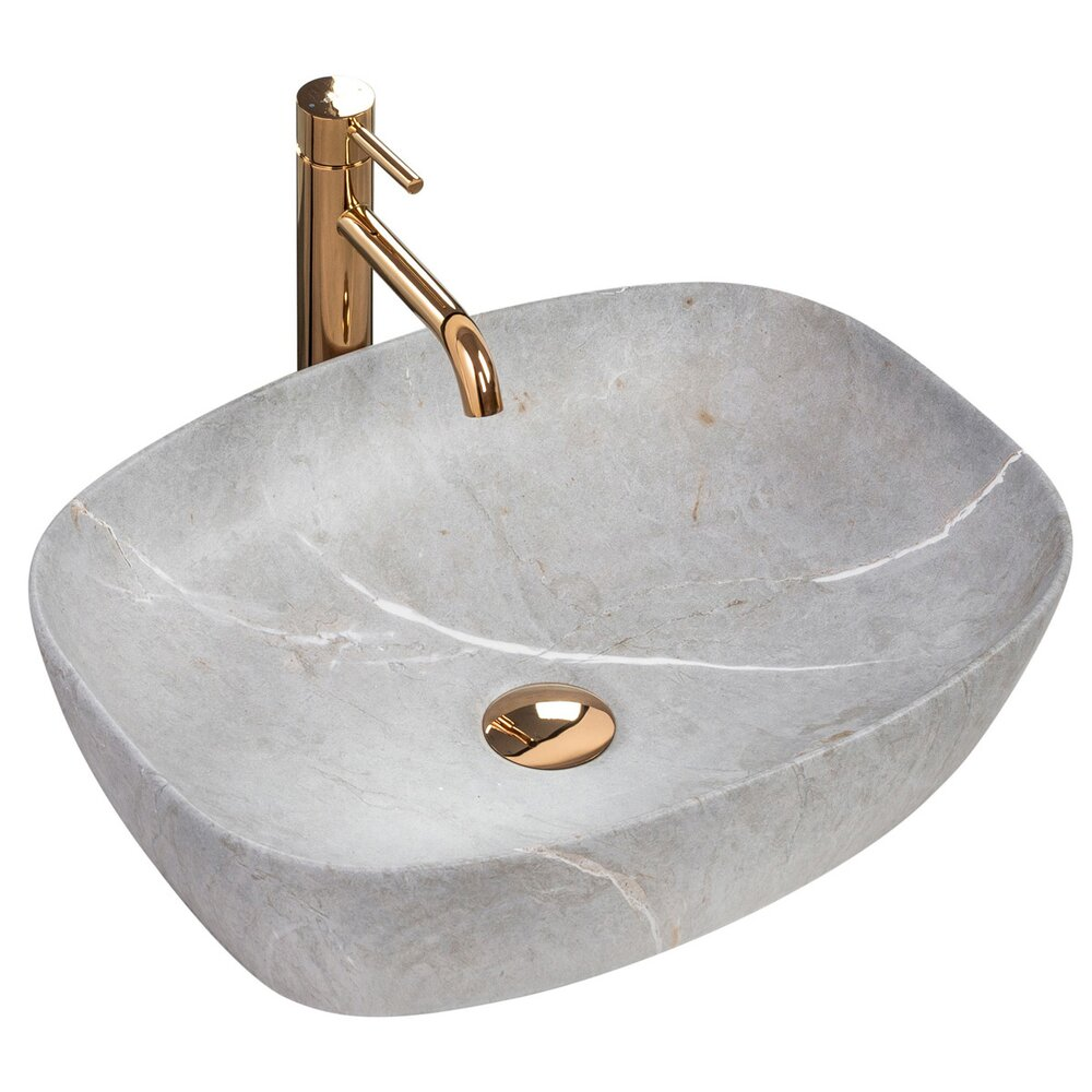 Lavoar stil piatra/gri pe blat Rea Freja Gray 50 cm imagine