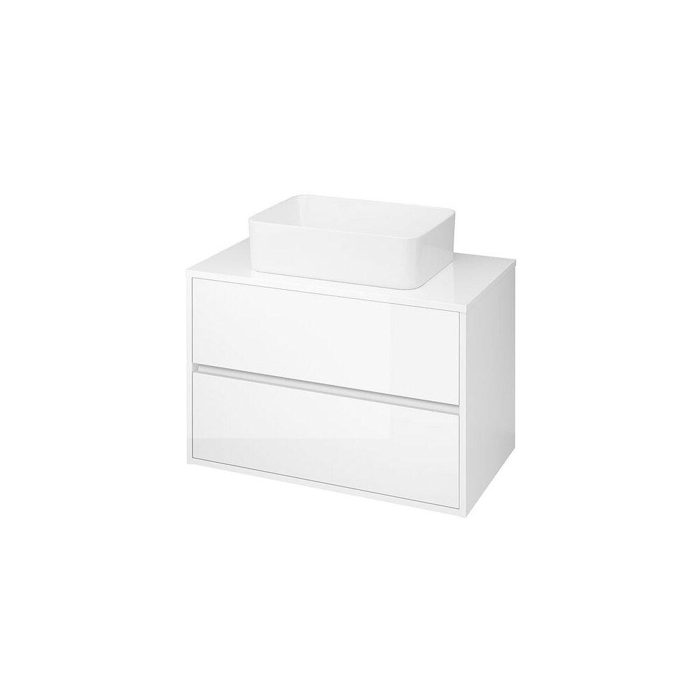 Mobilier baza cu blat inclus Cersanit Crea 2 sertare alb mat 80 cm poza