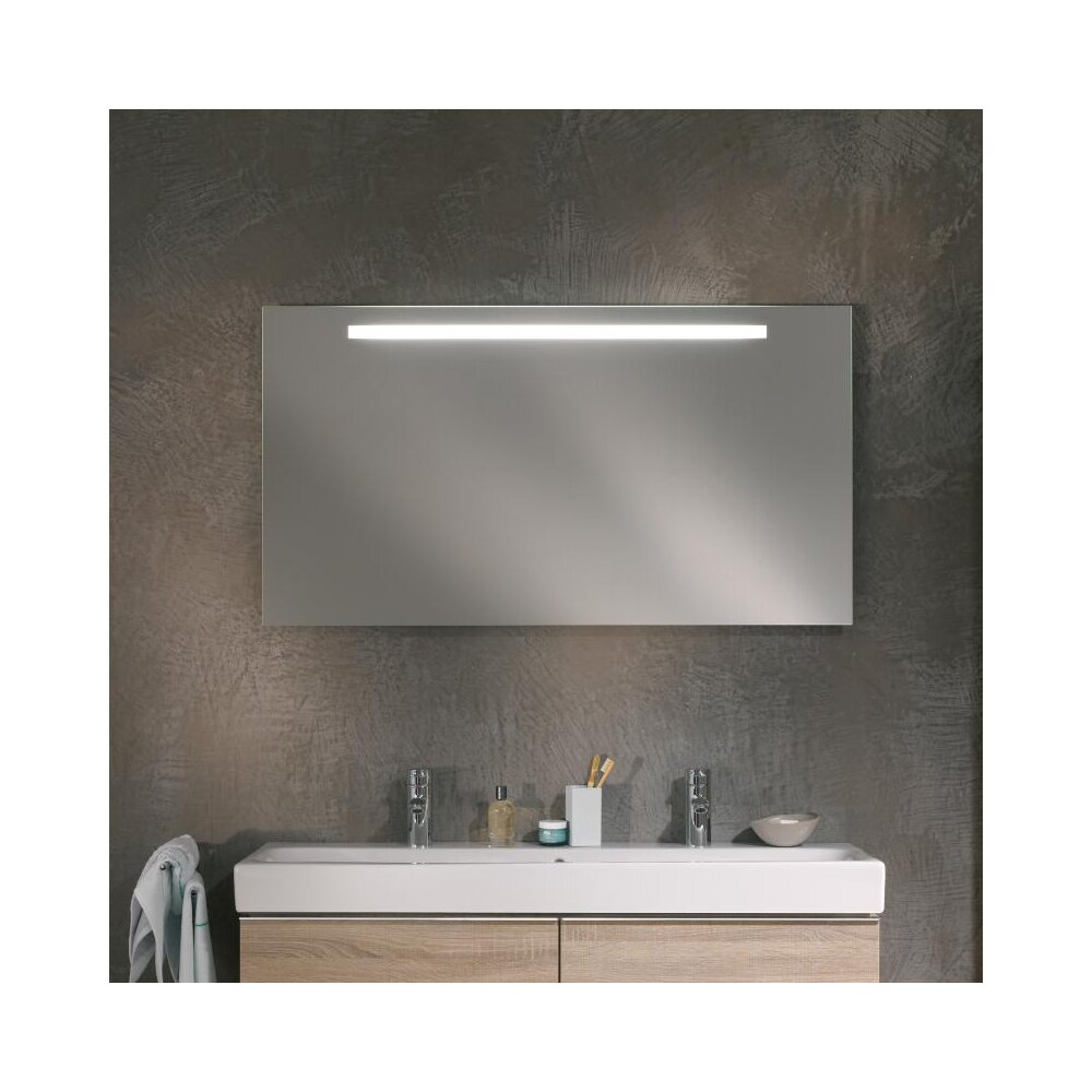 Oglinda cu iluminare LED Geberit Option Plus argintiu 120 cm imagine neakaisa.ro