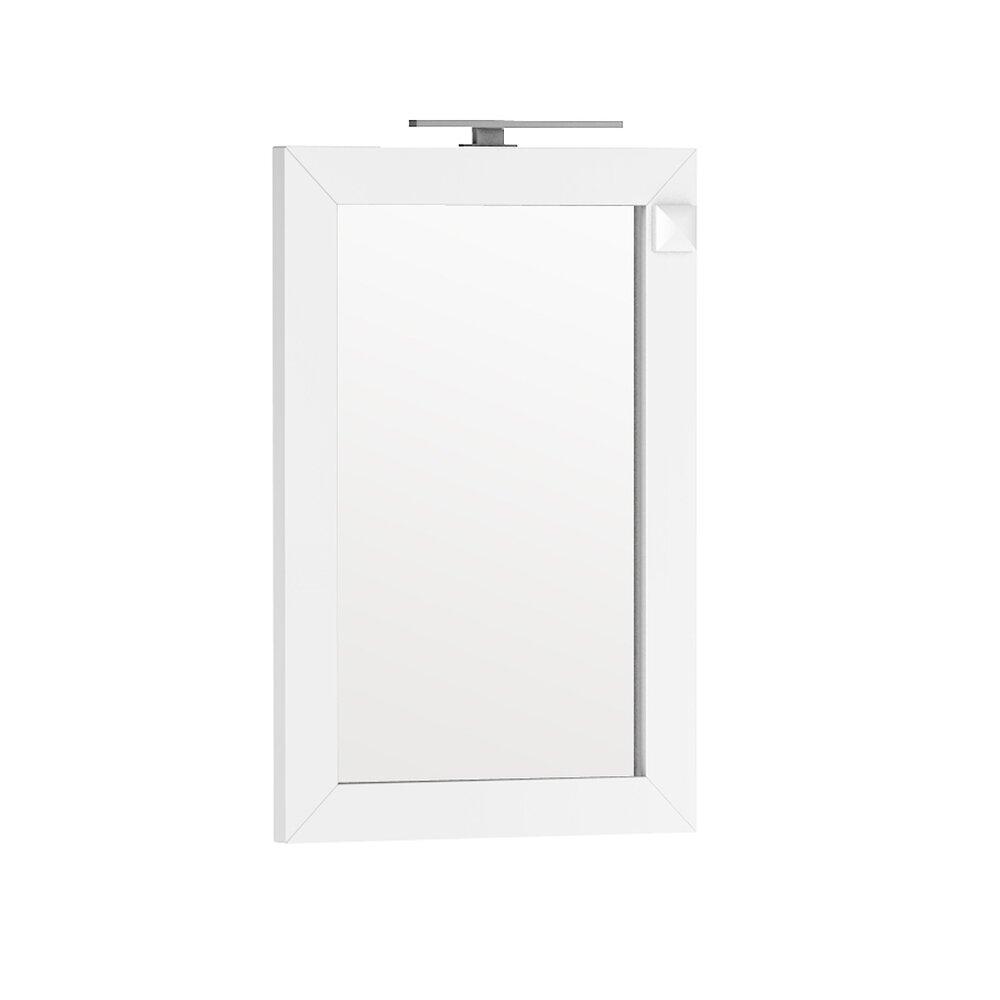 Oglinda cu iluminare si priza Oristo Wave alb 60x90 cm poza