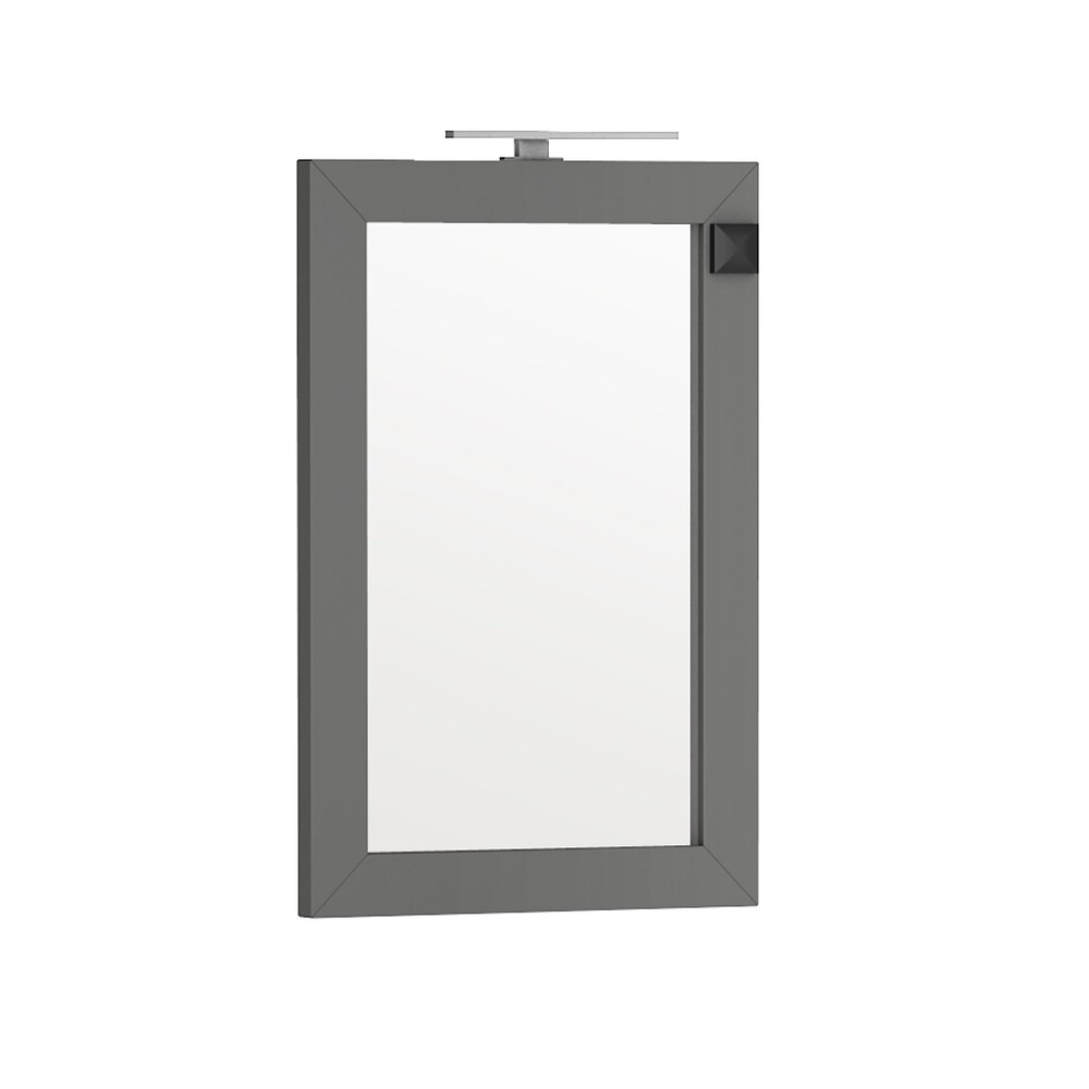 Oglinda cu iluminare si priza Oristo Wave gri 60x90 cm imagine