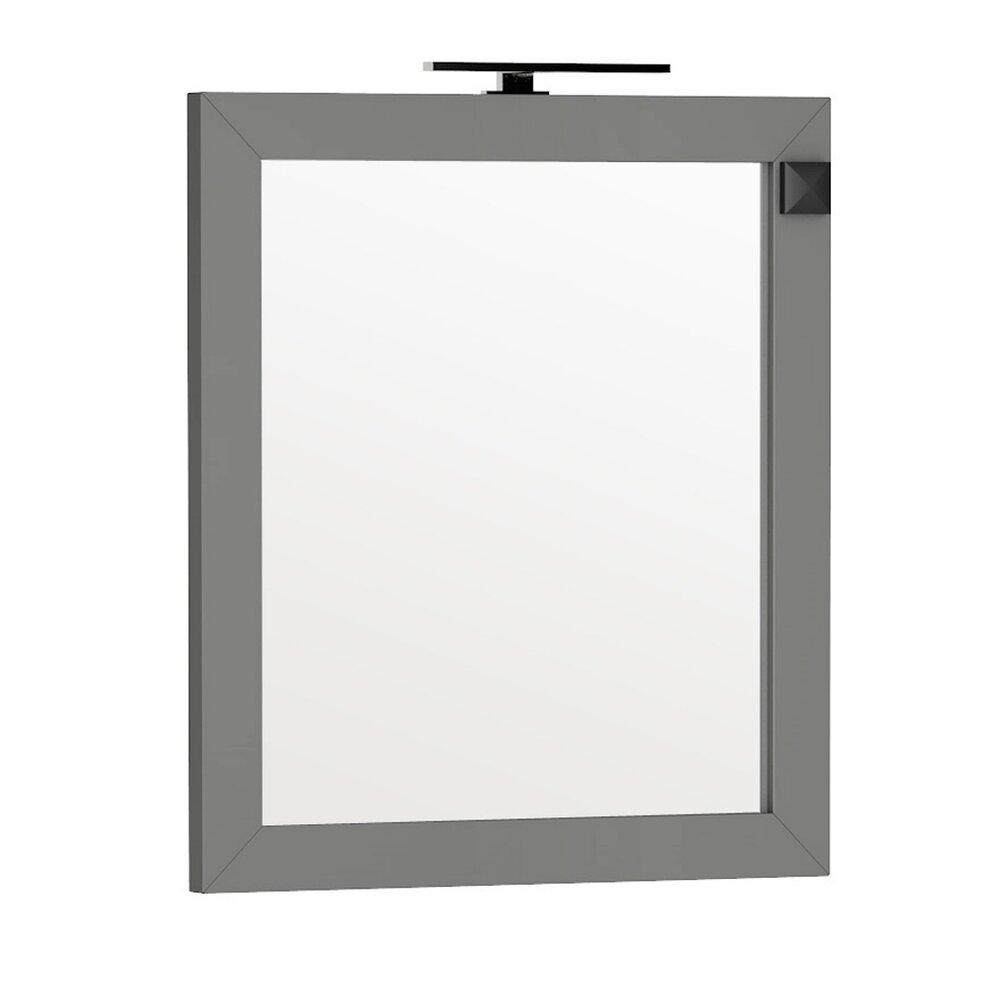 Oglinda cu iluminare si priza Oristo Wave gri 80x90 cm imagine