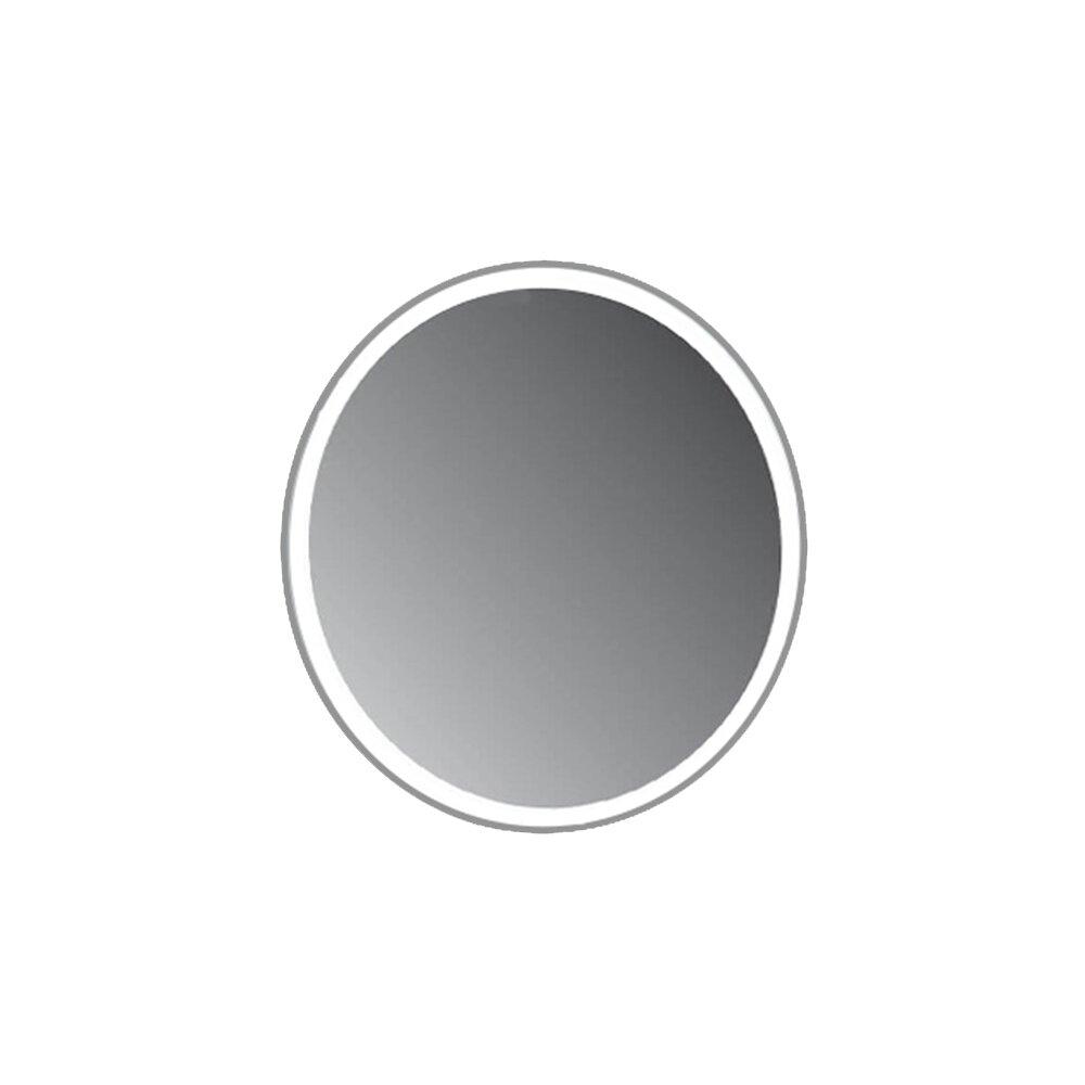 Oglinda rotunda Fluminia Cleo cu led si touch senzitiv plus margine din piele culoare gri imagine