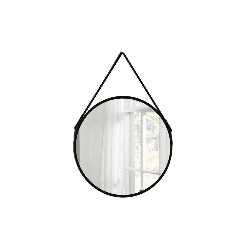 Oglinda rotunda Fluminia Mona cu margine din piele neagra 60 cm imagine