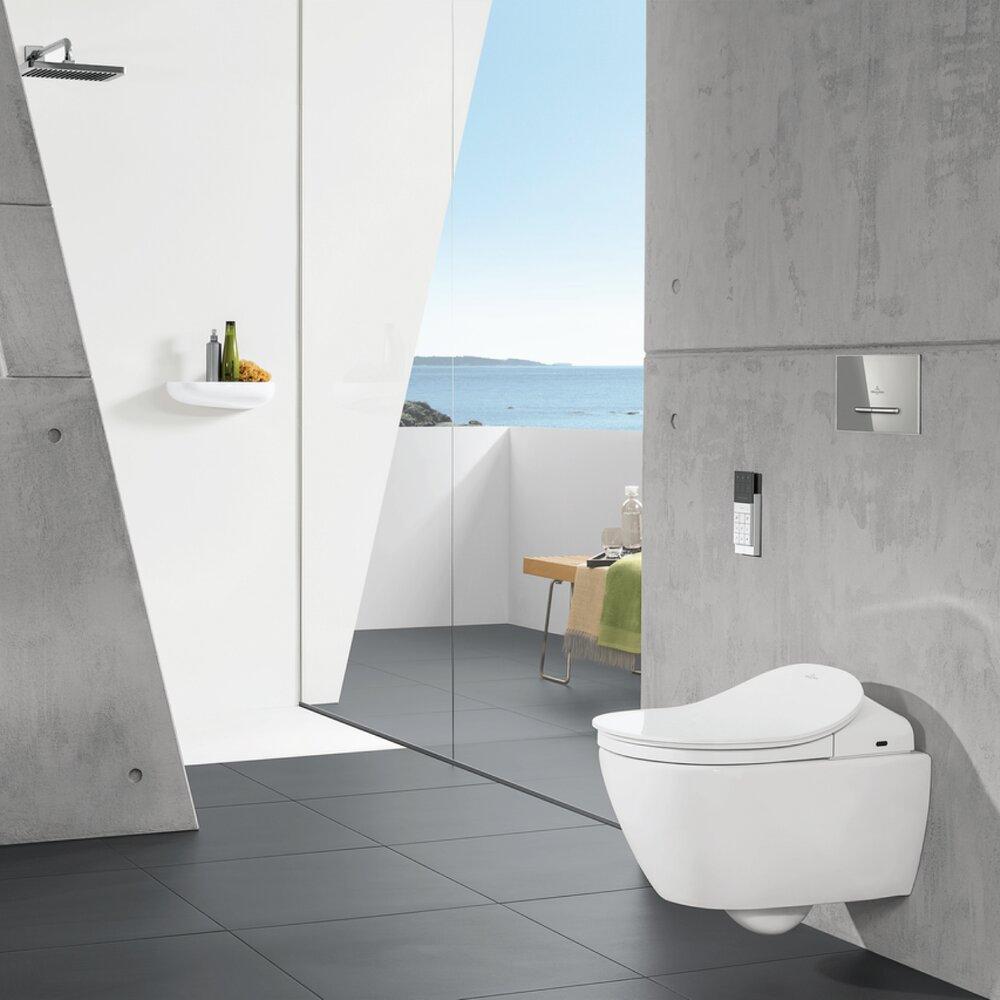 Pachet ViClean Villeroy&Boch wc suspendat Direct Flush Subway 2.0 cu capac functie de bideu si rezervor incastrat plus clapeta si racord apa poza