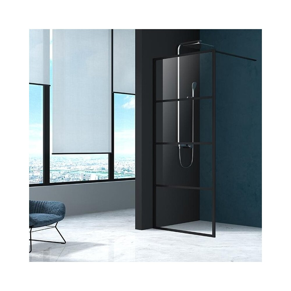 Paravan de dus Mediterraneo Black 4 90x200 cm sticla securizata imagine