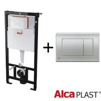 Rezervor  wc cu cadru incastrat Alcaplast si clapeta dubla comanda crom mat