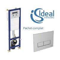Rezervor wc incastrat Ideal Standard cu cadru incastrat si clapeta crom cu dubla comanda pentru wc suspendat