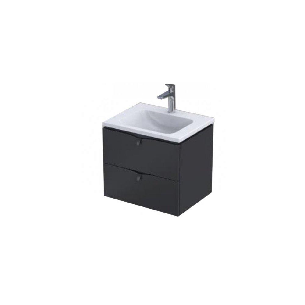 Set dulap baza suspendat negru cu 2 sertare Oristo Siena si lavoar din marmura Beryl 60 cm imagine