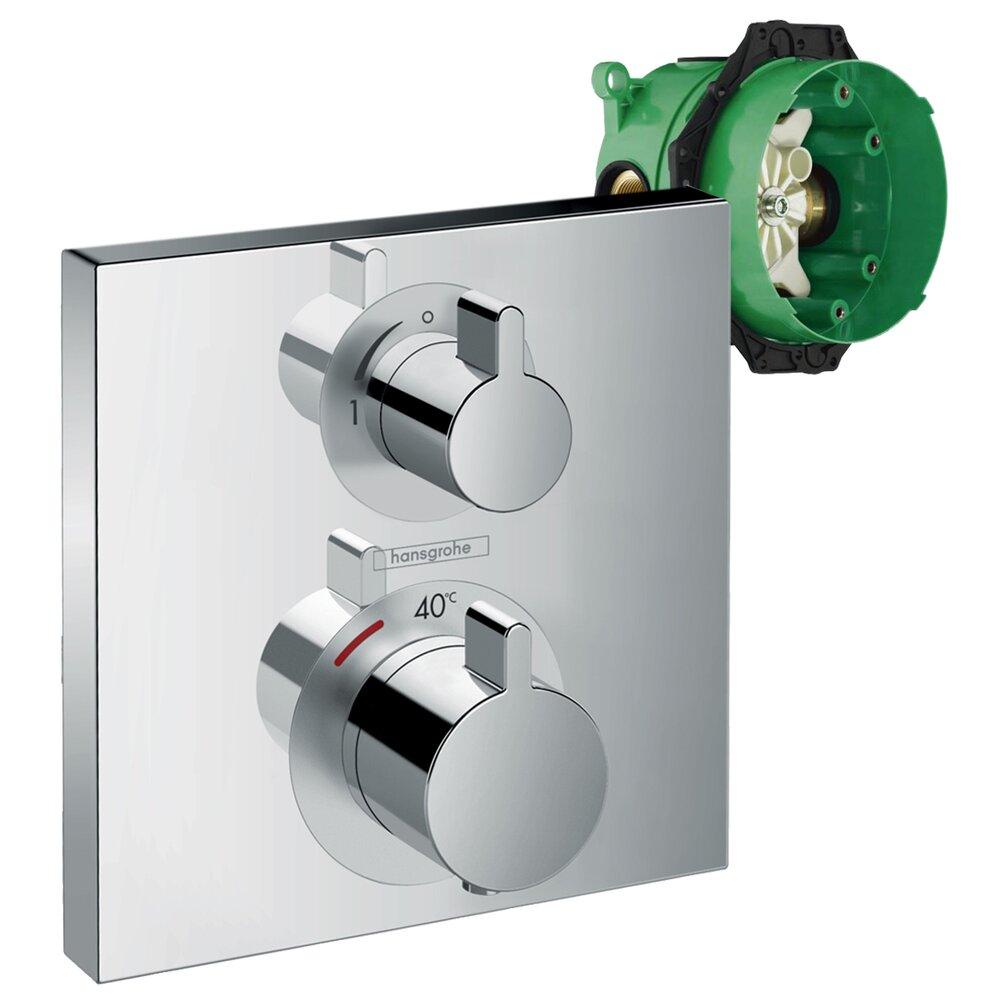 Set promo baterie dus termostatata Hansgrohe Ecostat Square cu montaj incastrat, o singura functie + iBox