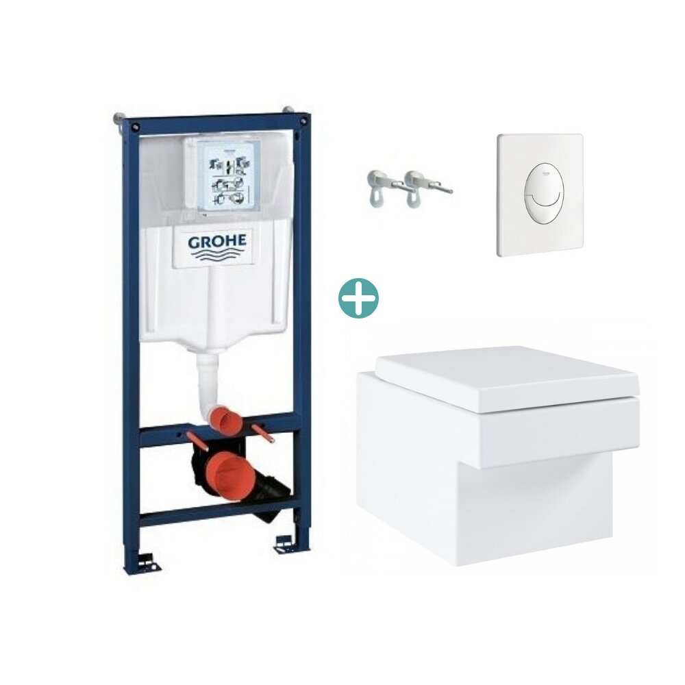 Set rezervor Grohe Rapid SL cu clapeta Skate Air alba si vas wc Grohe Cube Ceramic Triple Vortex PureGuard capac soft close