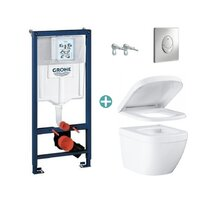 Set rezervor Grohe Rapid SL cu clapeta Skate Air crom si vas wc Grohe Euro Ceramic Compact Triple Vortex capac soft close