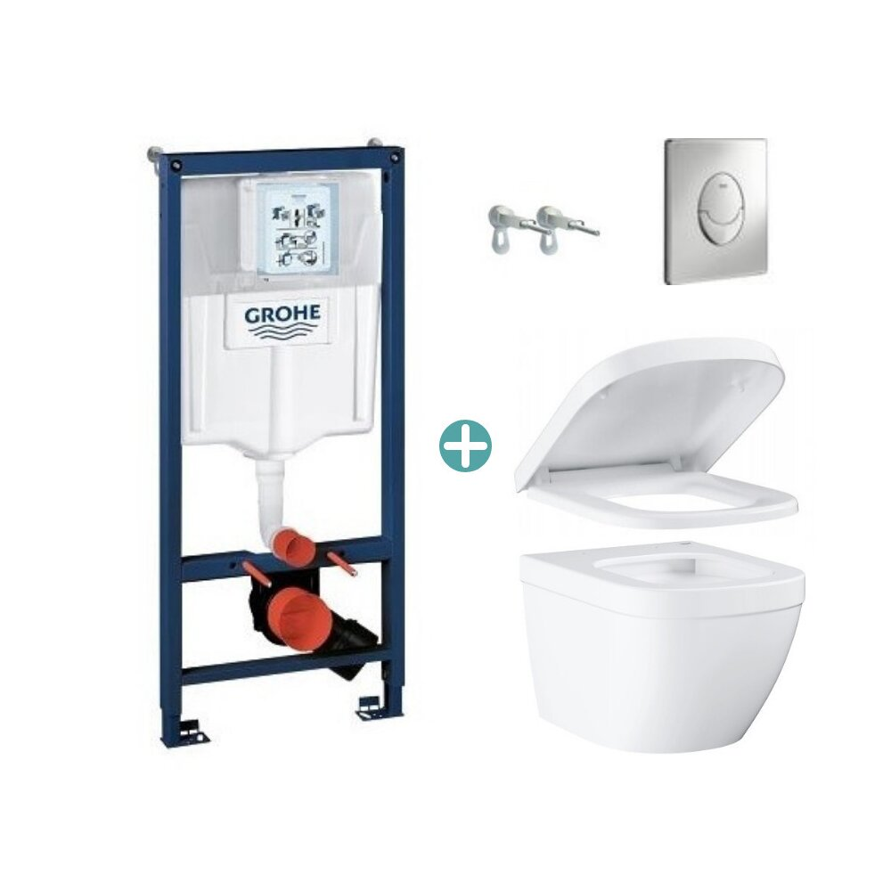 Set rezervor Grohe Rapid SL cu clapeta Skate Air crom si vas wc Grohe Euro Ceramic Compact Triple Vortex capac soft close imagine neakaisa.ro