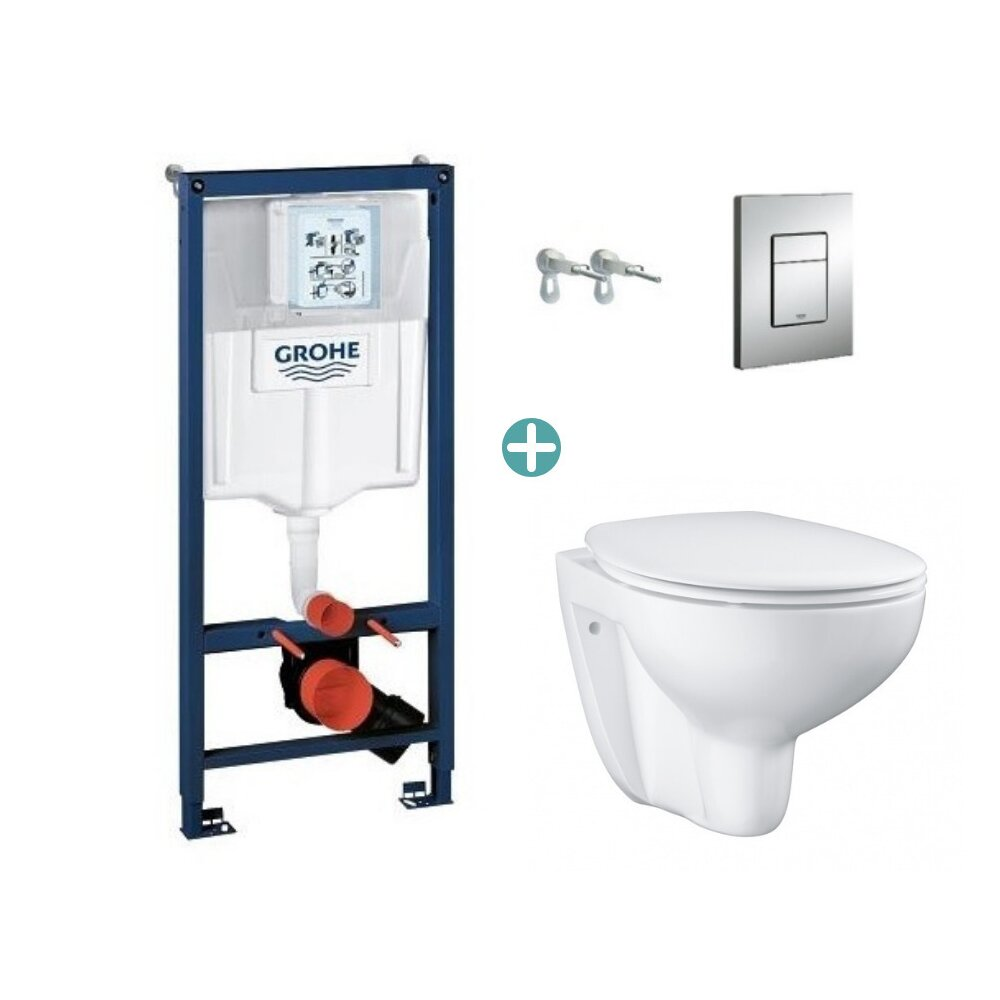 Set rezervor Grohe Rapid SL cu clapeta Skate Cosmopolitan si vas wc Grohe Bau Ceramic Rimless capac soft close imagine