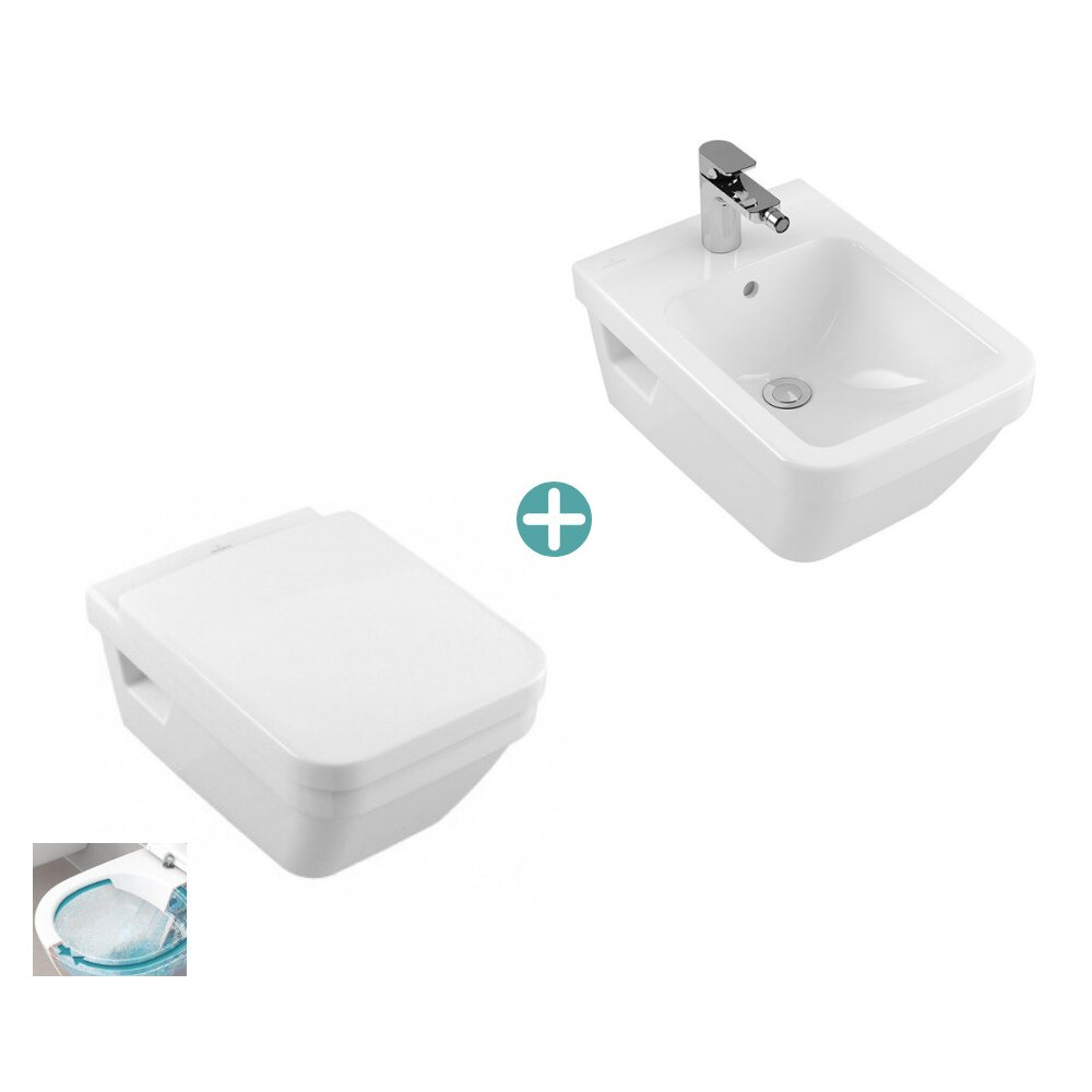 Set vas wc suspendat cu capac soft close si bideu suspendat Villeroy&Boch Architectura dreptunghiular DirectFlush imagine neakaisa.ro