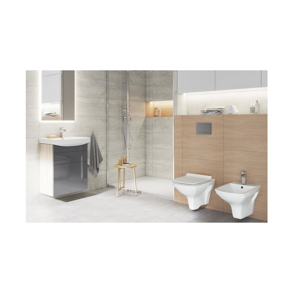 Set vas wc cu capac softclose si bideu suspendat Cersanit Carina New Clean On neakaisa.ro