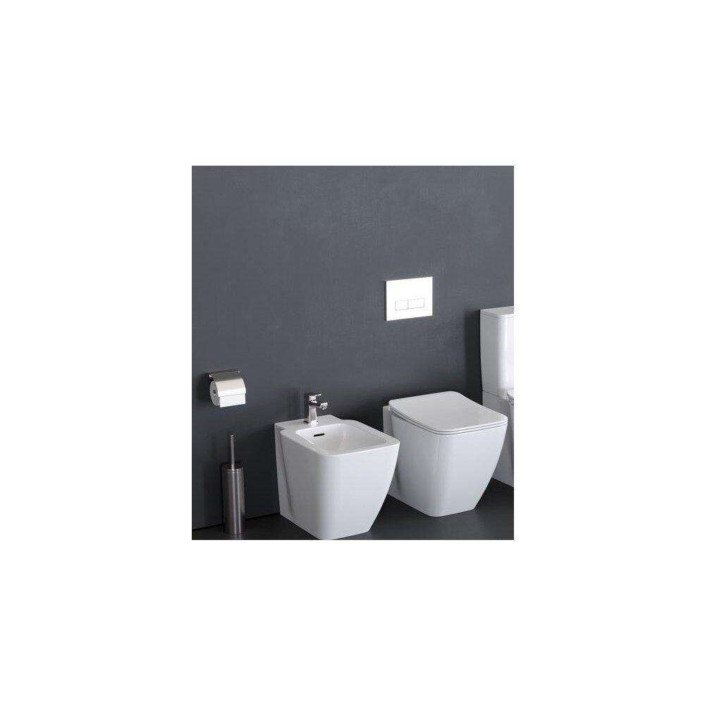 Set vas wc pe pardoseala bideu pe pardoseala si capac slim soft close Ideal Standard Strada II AquaBlade BackToWall imagine