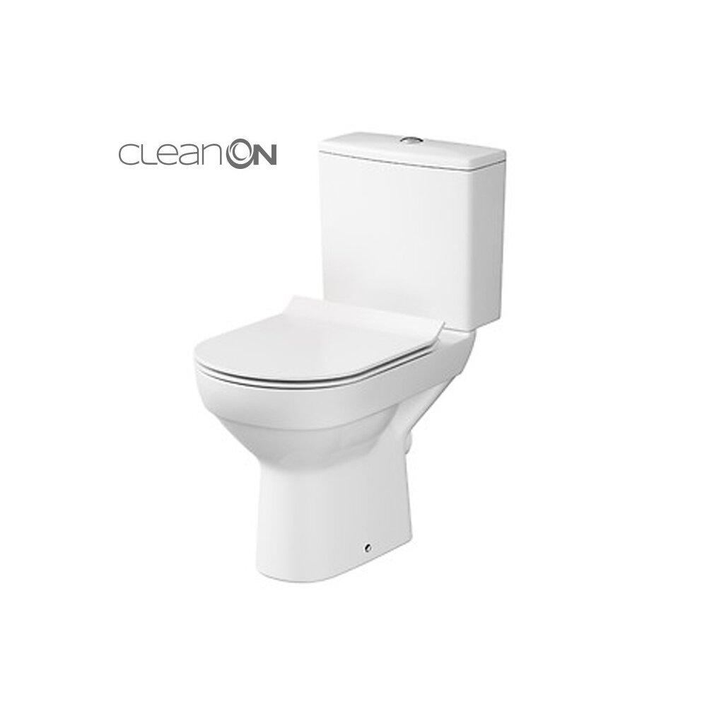Set vas wc pe pardoseala Cersanit City New Clean On cu rezervor si capac inchidere lenta poza