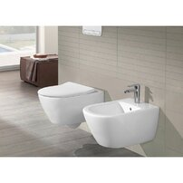 Set vas wc cu bideu suspendat Villeroy&Boch Subway 2.0 si capac slim soft close