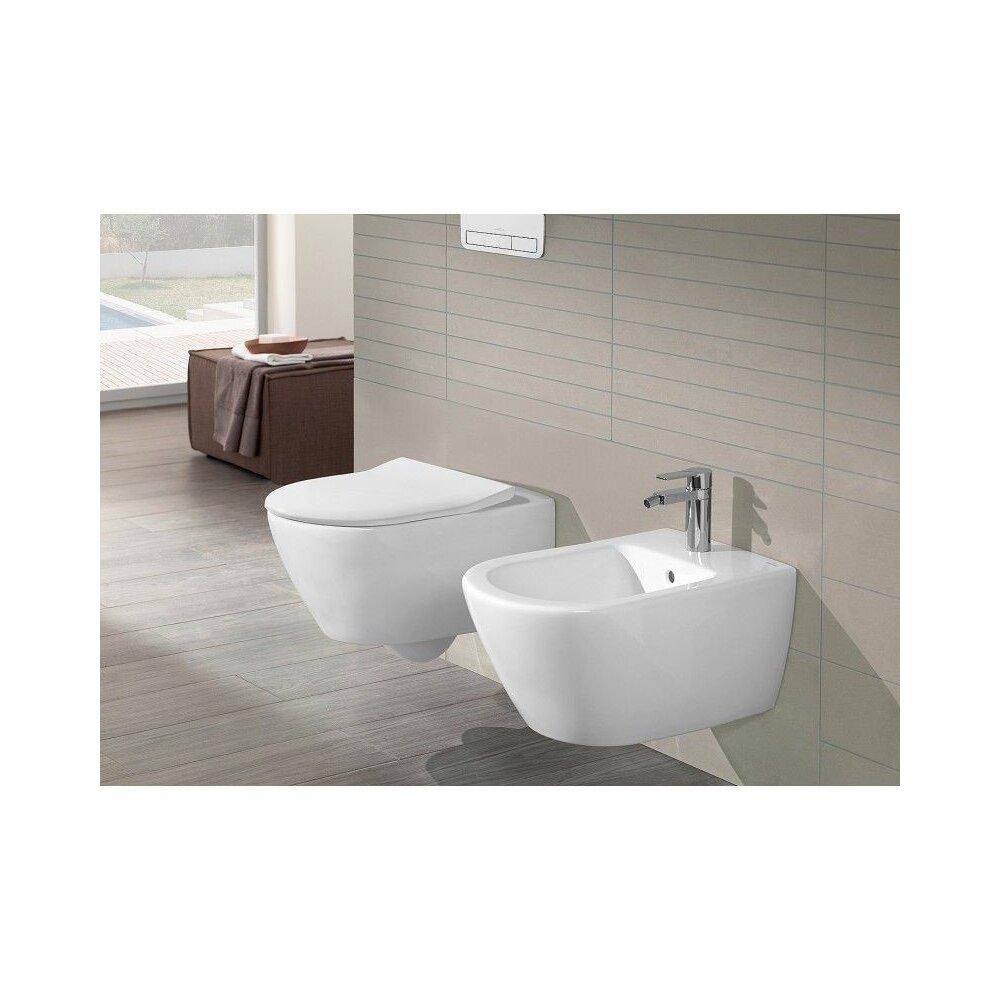 Set vas wc cu bideu suspendat Villeroy&Boch Subway 2.0 si capac slim soft close imagine