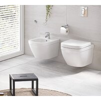 Set vas wc suspendat cu capac softclose si bideu Grohe Euro Ceramic Rimless Triple Vortex