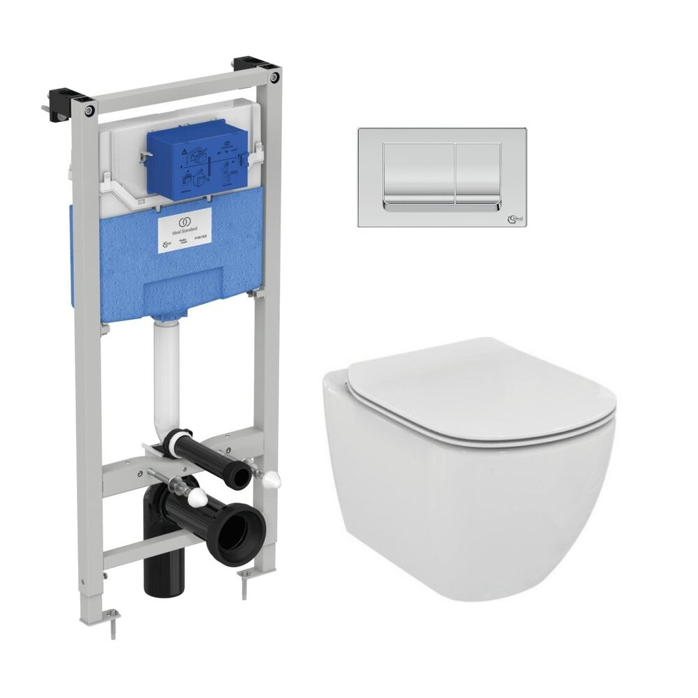 Set vas wc suspendat Ideal Standard Tesi AquaBlade cu capac inchidere normala si rezervor Ideal Standard Prosys imagine neakaisa.ro