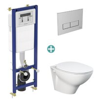 Set vas wc suspendat Rak Ceramics Morning cu capac si rezervor cu clapeta crom Ideal Standard