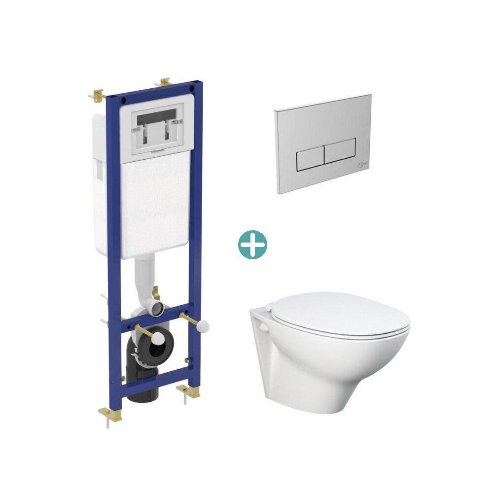 Set vas wc suspendat Rak Ceramics Morning cu capac si rezervor cu clapeta crom Ideal Standard imagine