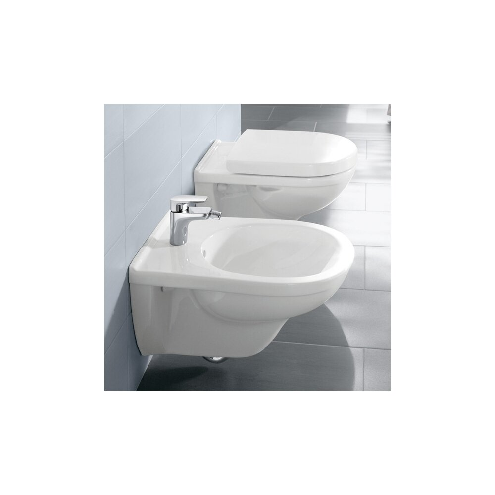 Set vas wc suspendat Villeroy&Boch O.Novo Direct Flush cu bideu suspendat si capac soft close imagine neakaisa.ro