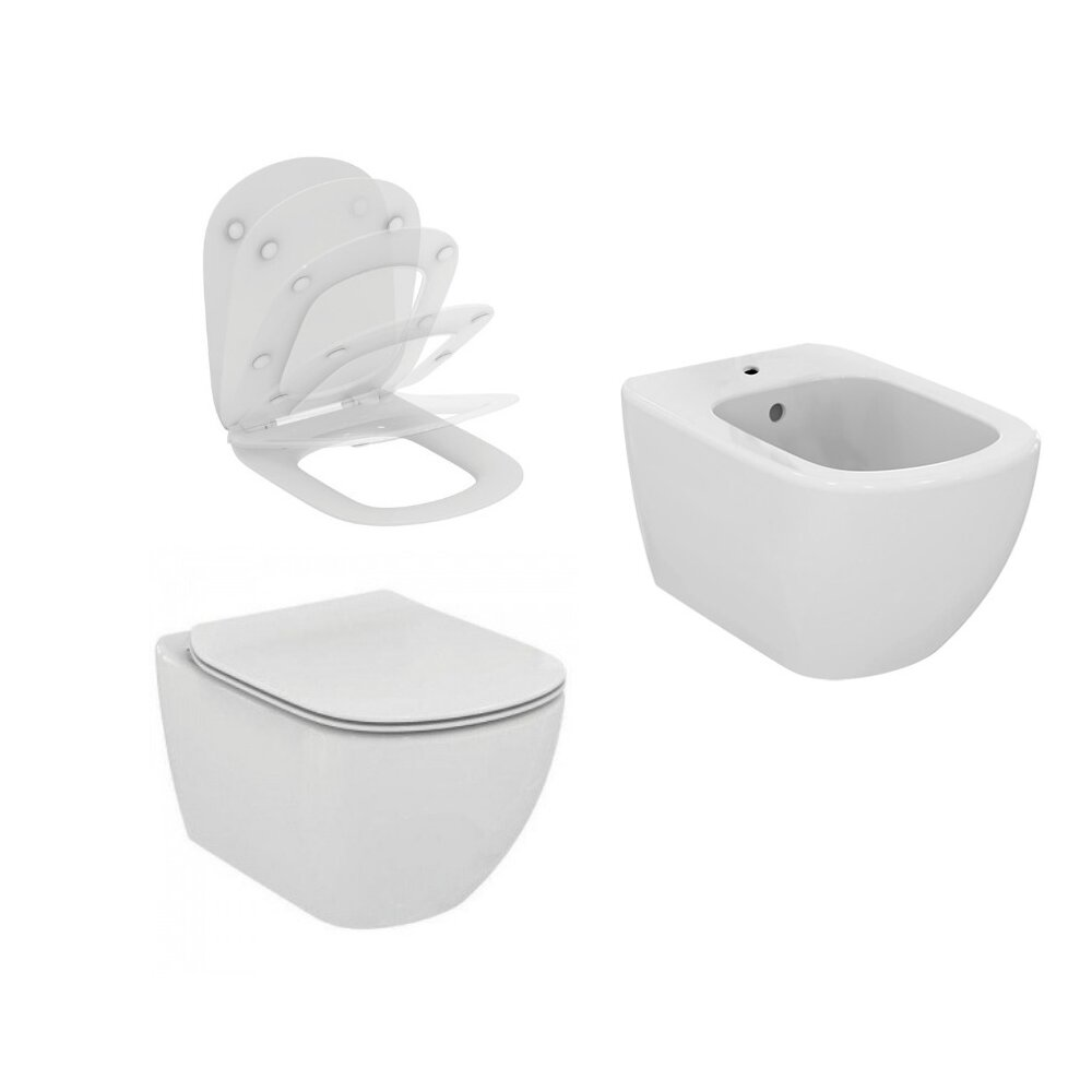 Set vas wc cu capac softclose si bideu suspendat Ideal Standard Tesi Aquablade poza