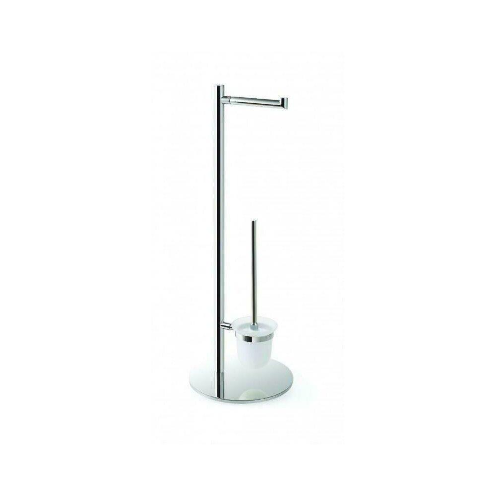 Suport stativ Bemeta Omega cu suport hartie igienica si perie wc, crom