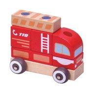 Masinuta Pompieri din lemn, sistem modular, Multicolora
