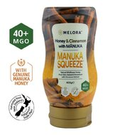 Miere tartinabila din flora salbatica a Noii Zeelande cu miere de Manuka MGO +40 si extract de scortisoara MELORA, 400 g, naturala