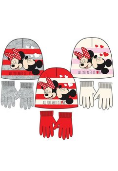 Caciula si manusi, Minnie si Mickey, rosii